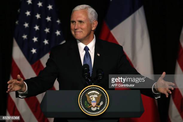 Vice President of the United States Mike Pence gestures as he delivers a speech during a business dinner in Santiago on August 16 2017 Pence arrives...
