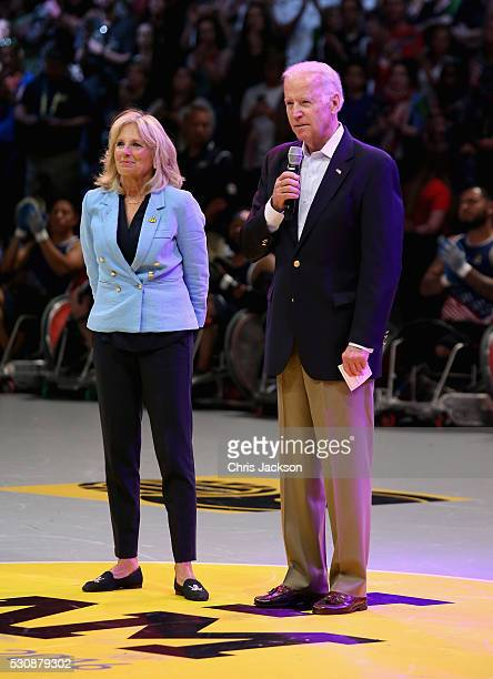 Vice President of the United States of America Joe Biden and his wife Jill Biden ahead of the USA Vs Denmark in the wheelchair rugby match at the...