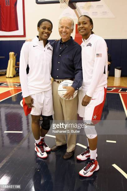 Vice President of the United States of America Joe Biden with Swin Cash and Tamika Catchings of the 2012 US Women's Senior National Team following a...