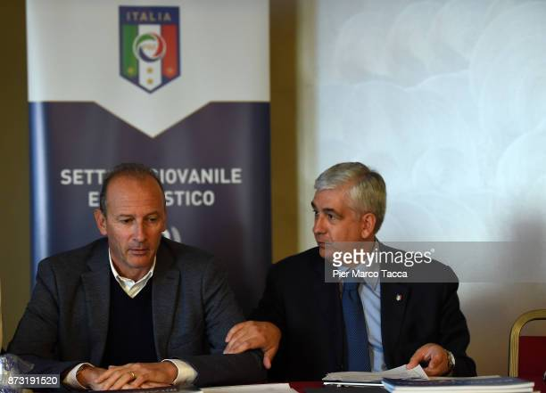 Vice President of the youth and school sector of Figc Roberto Samaden and President of the youth and school sector of Figc Vito Tisci speak during...
