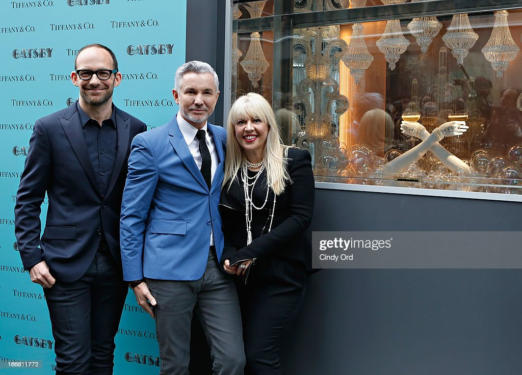 Vice President of Tiffany & Co. Creative Visual Merchandising, Richard Moore, writer/director/producer Baz Luhrmann and two-time Oscar-winning costume and production designer, Catherine Martin attend the Great Gatsby Window Unveiling at Tiffany & Co. on April 17, 2013 in New York City.