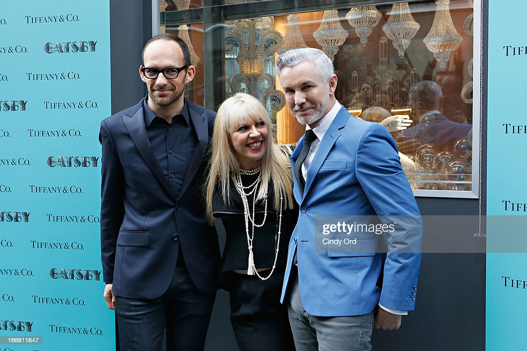 Vice President of Tiffany & Co. Creative Visual Merchandising, Richard Moore, two-time Oscar-winning costume and production designer, Catherine Martin and writer/director/producer Baz Luhrmann attend the Great Gatsby Window Unveiling at Tiffany & Co. on April 17, 2013 in New York City.