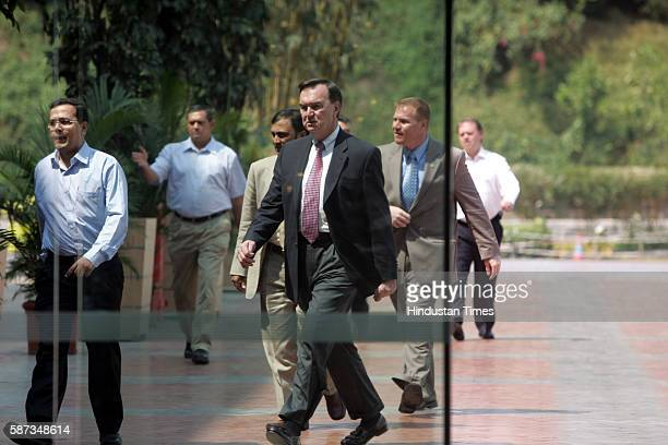 Vice president of Walmart Michael Duke enters the Inorbit Mall