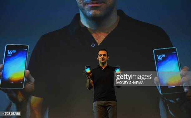 Vice President of Xiaomi Global Hugo Barra gestures during the launch of Xiaomi's Mi4i smart phone in New Delhi on April 23 2015 AFP PHOTO / MONEY...
