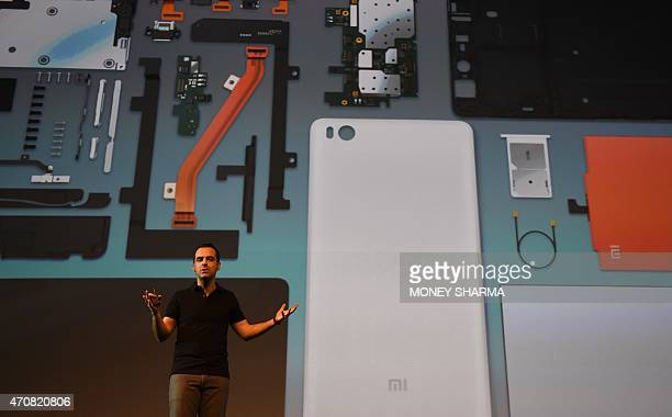 Vice President of Xiaomi Global Hugo Barra gestures during the launch of Xiaomi's Mi4i smart phone and Mi Band in New Delhi on April 23 2015 AFP...
