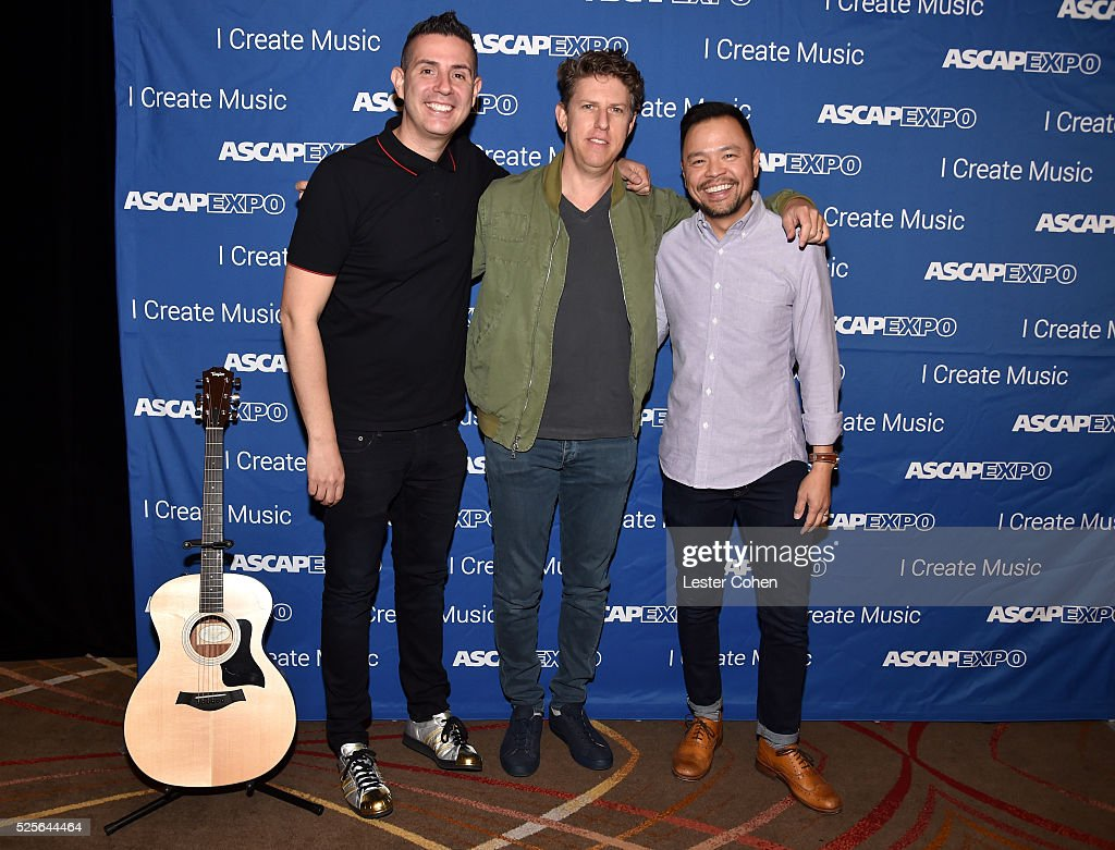 Vice President, Pop/Rock Marc Emert-Hutner, songwriter Greg Kurstin and ASCAP Associate Director, Pop/Rock Membership Ed Reyes #StandWithSongwriters guitar at the 2016 ASCAP 'I Create Music' EXPO on April 28, 2016 in Los Angeles, California.