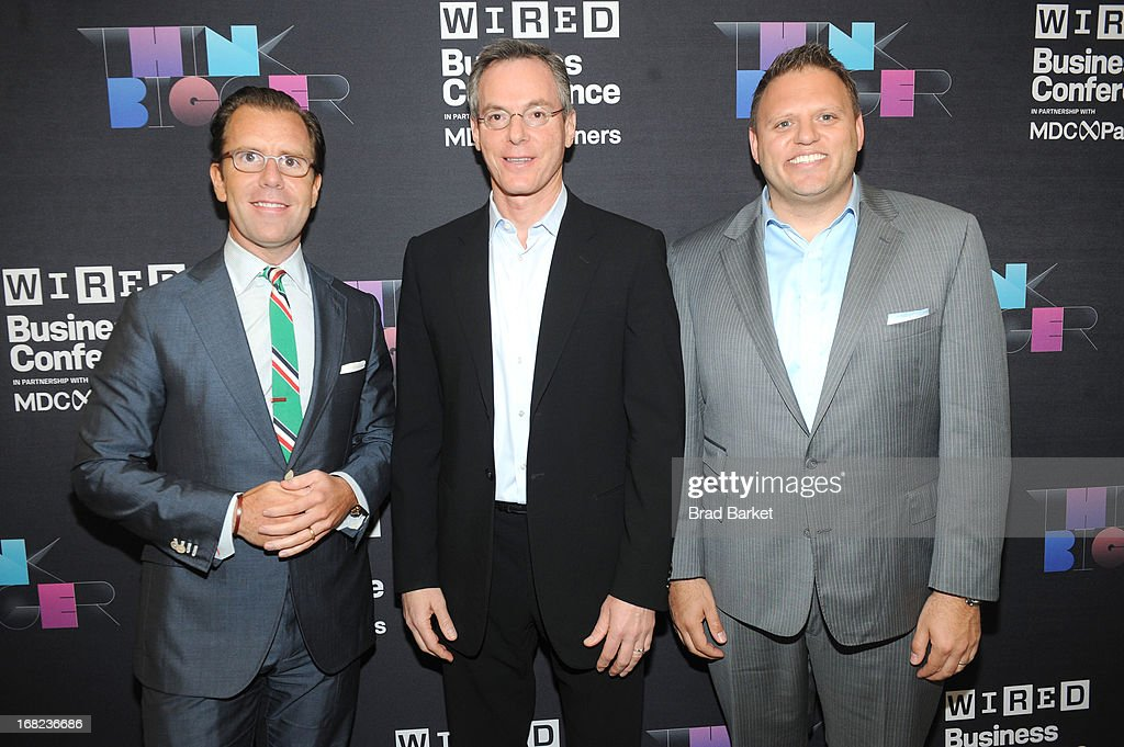 Vice President, Publisher at Wired, Howard Mittman, Chairman abd CEO of Qualcomm, Paul Jacobs and Editor in Chief, Wired Scott Dadich attends the WIRED Business Conference: Think Bigger at Museum of Jewish Heritage on May 7, 2013 in New York City.