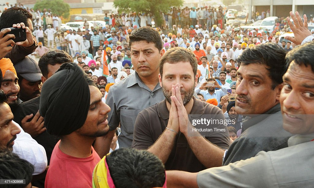 Vice President <a gi-track='captionPersonalityLinkClicked' href=/galleries/search?phrase=Rahul+Gandhi&family=editorial&specificpeople=171802 ng-click='$event.stopPropagation()'>Rahul Gandhi</a> interacting with farmers, listening to their grievances at Sirhind grain market on April 28, 2015 in Punjab, India. The Congress Vice President had recently attacked the government, alleging that it was 'ignoring' the farming community and favouring the industrialists and rich people. Gandhi, who was absent in the first half of the Budget session, owing to his 56-day leave, has been raising issues related to farmers and youths since he resumed party work. Gandhi also plans to undertake a padyatra from either Vidarbha in Maharashtra or the Telangana region, from the first week of May to connect with farmers.
