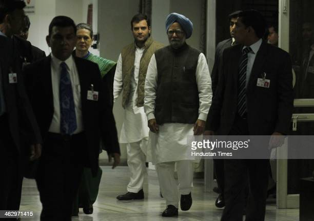 Vice President Rahul Gandhi Prime Minister Manmohan Singh and UPA Chairperson Sonia Gandhi arrive to attend a meeting of the extended Congress...