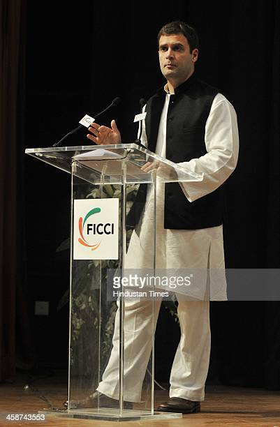 Vice President Rahul Gandhi speaks at the Valedictory Session of FICCIs 86th Annual General Meeting on the India On the Move theme at FICCI...