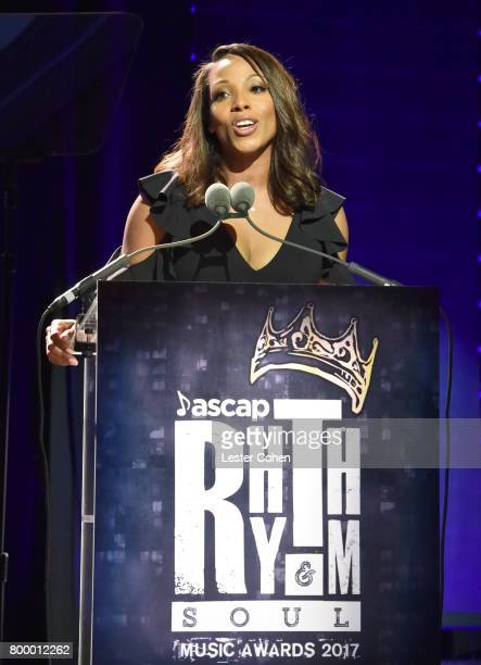 Vice President Rhythm Soul/ Urban Membership ASCAP Nicole GeorgeMiddleton speaks onstage at the ASCAP 2017 Rhythm Soul Music Awards at the Beverly...