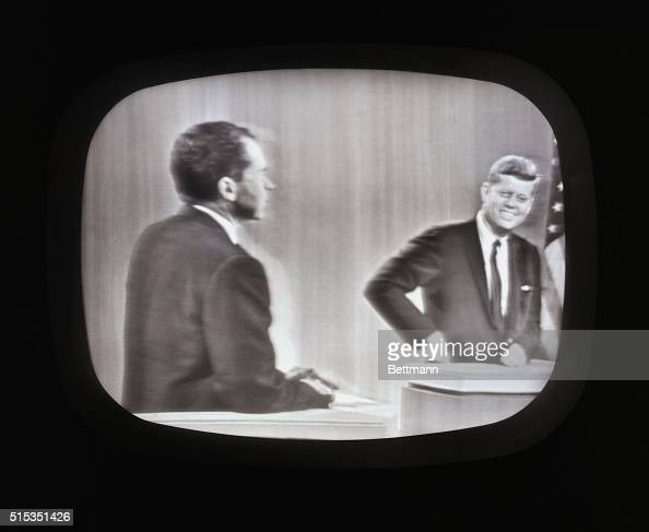 Vice President Richard Nixon and Senator John F Kennedy during the last of their four debates in 1960