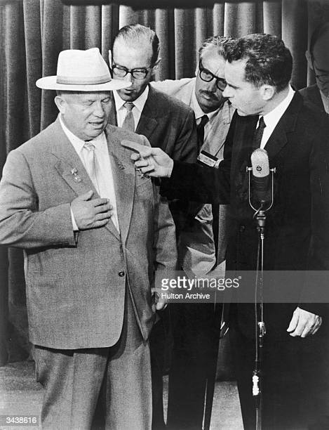 US vice president Richard Nixon points at Soviet premier Nikita Khrushchev during their 'kitchen debate' a verbal clash that occurred at a display of...