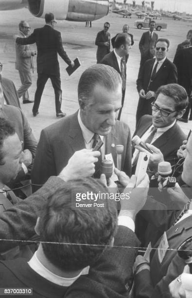 Vice President Spiro T Agnew in a press conference at Stapleton International Airport reemphasized Nixon administration support of high court nominee...