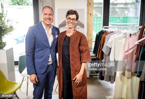 Vice President Textiles and Textile Technologies of Messe Frankfurt Olaf Schmidt and designer Julia Leifert from the label Philomena Zanetti pictured...