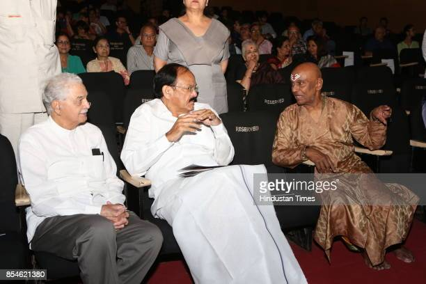 Vice President Venkaiah Naidu with Kuchipudi Guru Raja Reddy during the 21st Parampara Series National Festival of Music and Dance with the aim of...