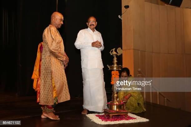 Vice President Venkaiah Naidu with Kuchipudi gurus Raja and Kaushalya Reddy inaugurates the 21st Parampara Series National Festival of Music and...