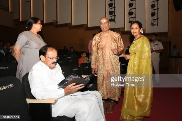 Vice President Venkaiah Naidu with Kuchipudi gurus Raja and Kaushalya Reddy during the 21st Parampara Series National Festival of Music and Dance...