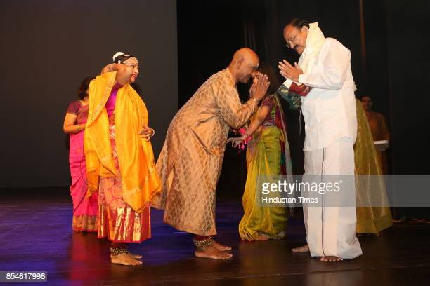 Vice President Venkaiah Naidu with Kuchipudi gurus Raja and Raddha Reddy during the 21st Parampara Series National Festival of Music and Dance with...