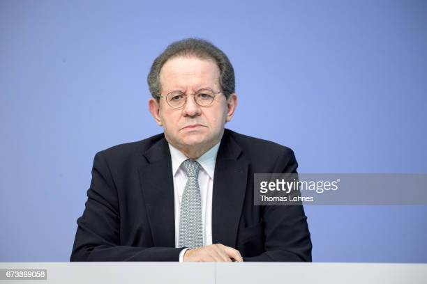 Vice President Vitor Manuel Ribeiro Constancio attends a press conference following the meeting of the Governing Council on April 27 2017 in...