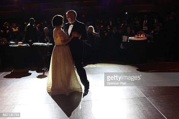 Vice Presidentelect Mike Pence and his wife Karen Pence take the first dance at the Indiana Society Ball on January 19 2017 in Washington DC...