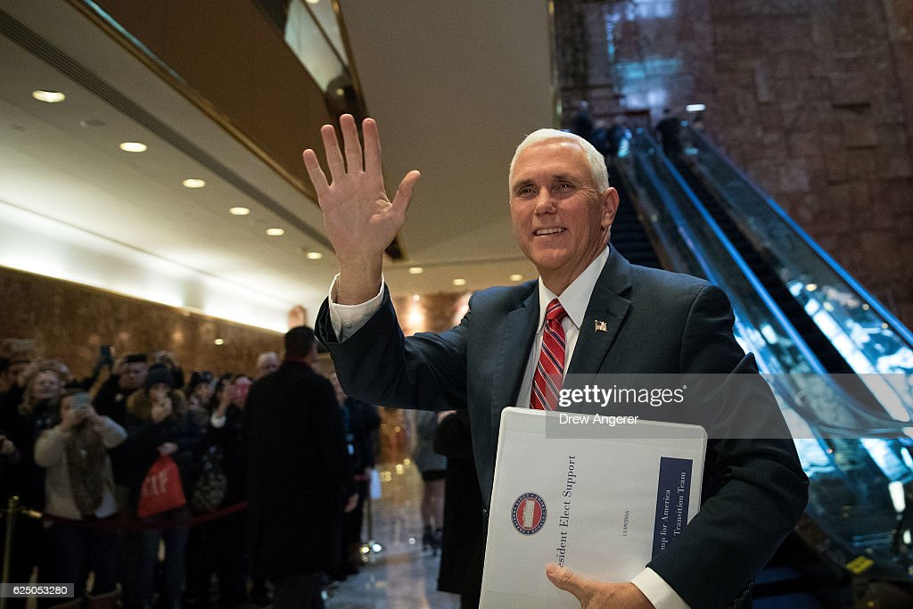 Vice President-elect Mike Pence arrives at Trump Tower, November 22, 2016 in New York City. President-elect Donald Trump and his transition team are in the process of filling cabinet and other high level positions for the new administration.