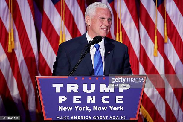 Vice presidentelect Mike Pence speaks to supporters at Republican presidentelect Donald Trump's election night event at the New York Hilton Midtown...