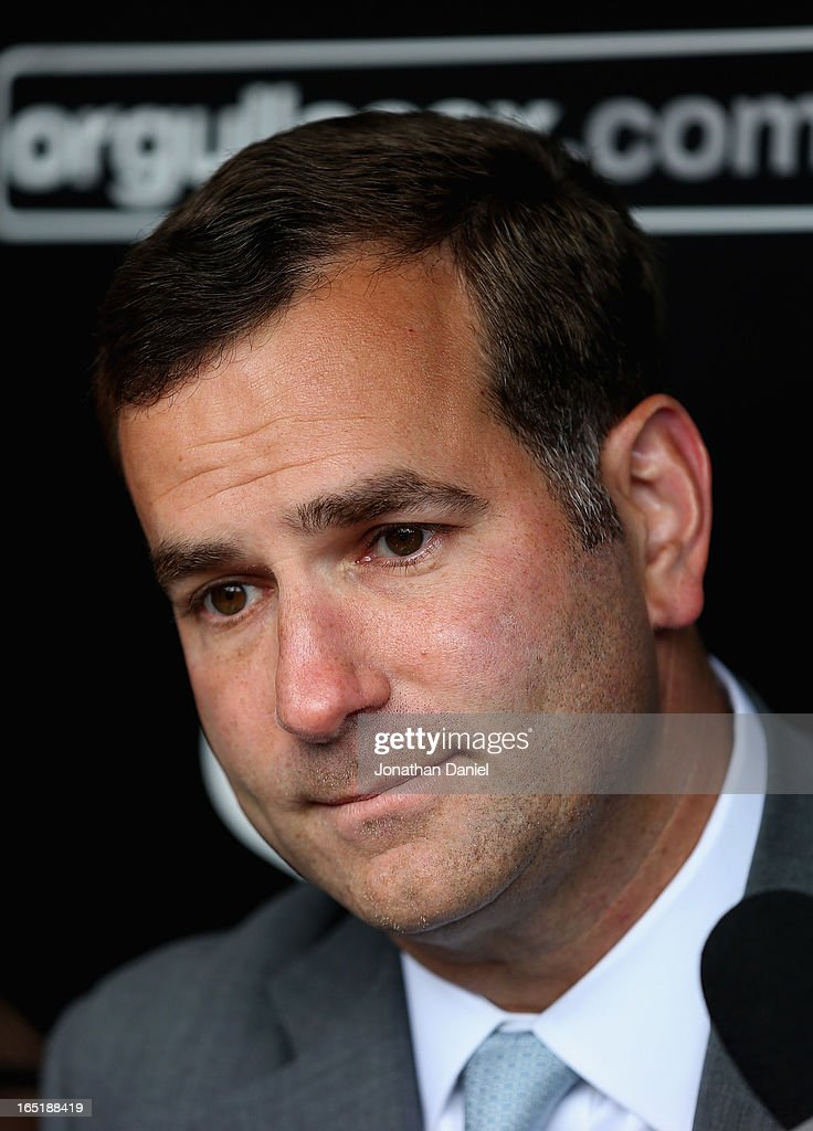Vice President/General Manager Rick Hahn of the Chicago White Sox speaks to the media before the Opening Day game against the Kansas City Royals at U.S. Cellular Field on April 1, 2013 in Chicago, Illinois.