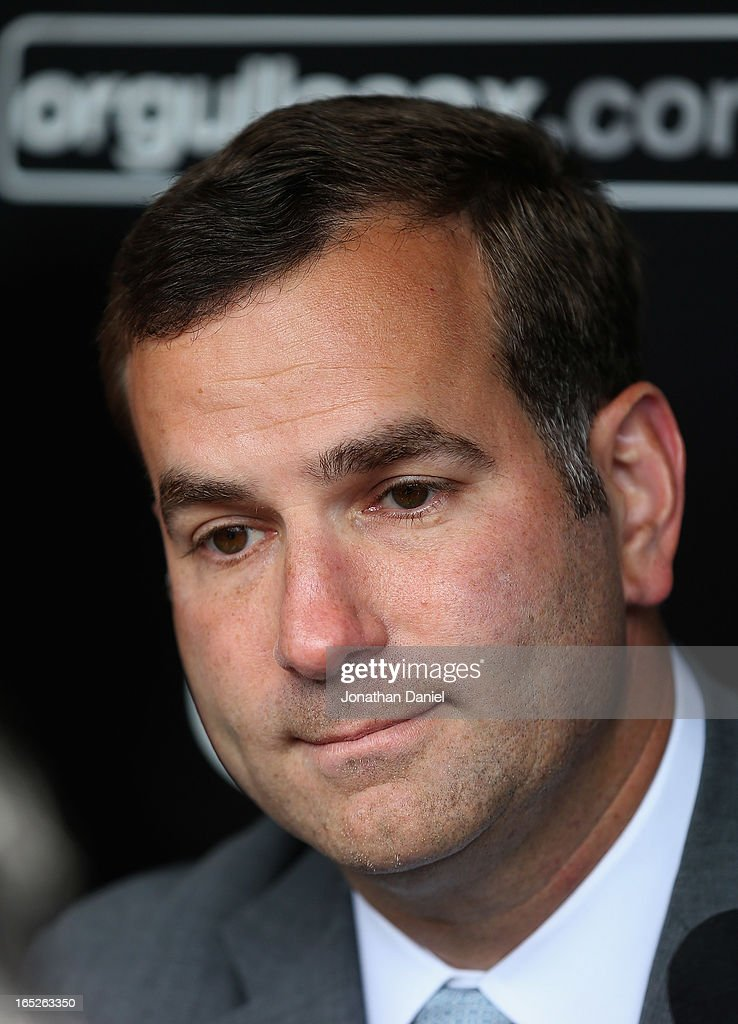Vice President/General Manager Rick Hahn of the Chicago White Sox speaks to the media before the Opening Day game against the Kansas City Royals at U.S. Cellular Field on April 1, 2013 in Chicago, Illinois. The White Sox defeated the Royals 1-0.