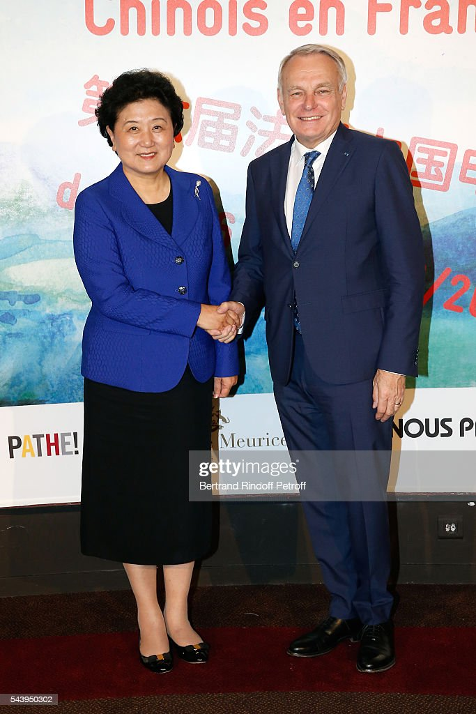 Vice Prime Minister of China <a gi-track='captionPersonalityLinkClicked' href=/galleries/search?phrase=Liu+Yandong&family=editorial&specificpeople=4375362 ng-click='$event.stopPropagation()'>Liu Yandong</a> and Minister of Foreign Affairs <a gi-track='captionPersonalityLinkClicked' href=/galleries/search?phrase=Jean-Marc+Ayrault&family=editorial&specificpeople=551961 ng-click='$event.stopPropagation()'>Jean-Marc Ayrault</a> attend the 6th Chinese Film Festival