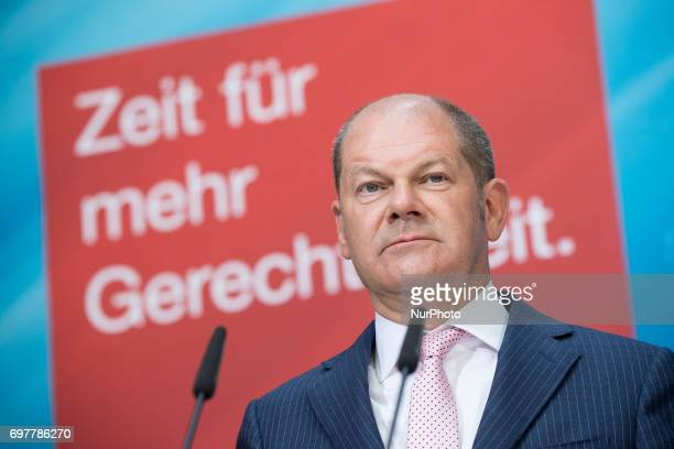 Vice SPD chairman and Hamburg's Mayor Olaf Scholz is pictured during a news conference to present a tax concept for the elections at SPD headquarters...
