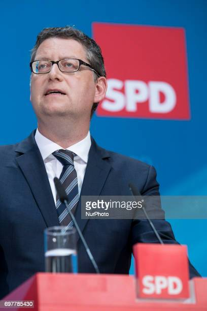 Vice SPD chairman Thorsten SchaeferGuembel is pictured during a news conference to present a tax concept for the elections at SPD headquarters...