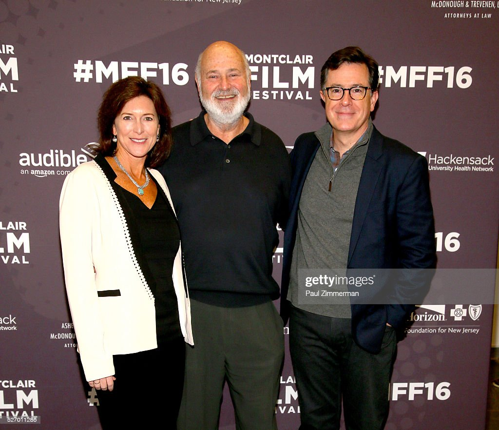 Vice-Chairman of the Board, MFF Evelyn Colbert, <a gi-track='captionPersonalityLinkClicked' href=/galleries/search?phrase=Rob+Reiner&family=editorial&specificpeople=208749 ng-click='$event.stopPropagation()'>Rob Reiner</a> and <a gi-track='captionPersonalityLinkClicked' href=/galleries/search?phrase=Stephen+Colbert&family=editorial&specificpeople=215133 ng-click='$event.stopPropagation()'>Stephen Colbert</a> attend the Montclair Film Festival 2016 - Day 3 Conversations at Montclair Kimberly Academy on May 1, 2016 in Montclair, New Jersey.