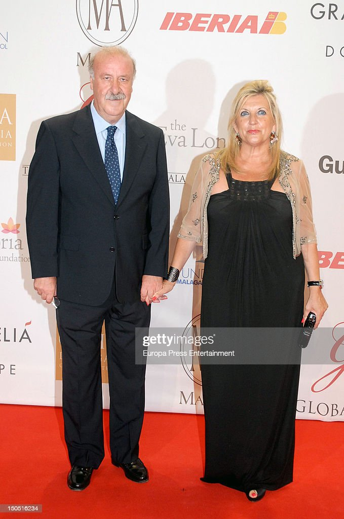 Vicente del Bosque and Trinidad Lopez attend the Global Gift Gala 2012 a party held by Cesare Scariolo Foundation and Eva Longoria Foundation to...