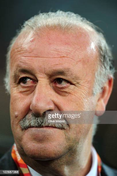 Vicente del Bosque head coach of Spain looks thoughtful ahead of the 2010 FIFA World Cup South Africa Semi Final match between Germany and Spain at...