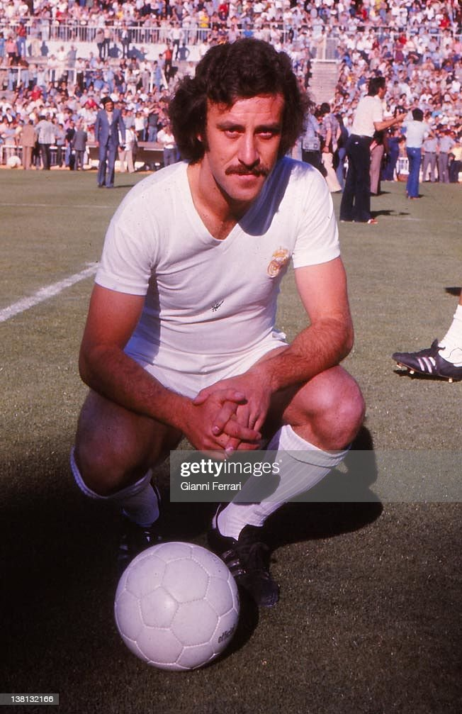 Vicente Del Bosque, soccer player of Real Madrid, in the stadium 'Santiago Bernabeu', 1974. Madrid, Spain.