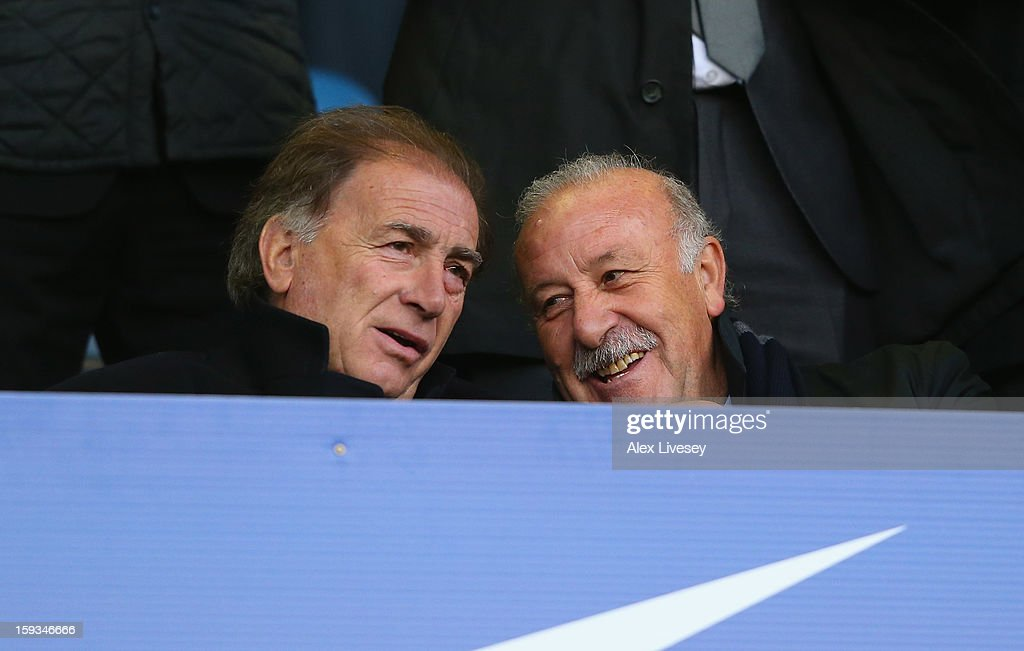Vicente Del Bosque the coach of Spain watches from the stands during the Barclays Premier League match between Everton and Swansea City at Goodison Park on January 12, 2013 in Liverpool, England.