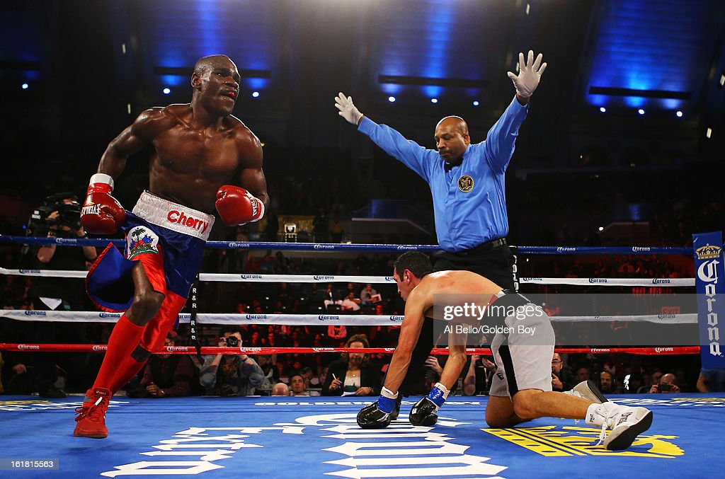 Vicente Escobedo is knocked out by Edner Cherry in the sixth round during their Junior Lightweight fight at Atlantic City Boardwalk Hall on February 16, 2013 in Atlantic City, New Jersey.