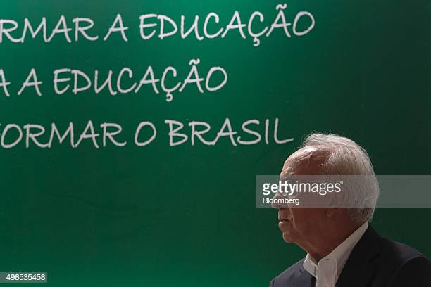 Vicente Falconi founder of the Falconi management consulting group listens during the launching of the Falconi Educacao foundation in Sao Paulo...