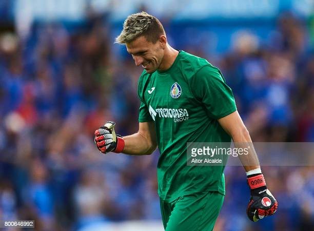 Vicente Guaita of Getafe CF reacts during La Liga 2 play off round between Getafe and CD Tenerife at Coliseum Alfonso Perez Stadium on June 24 2017...