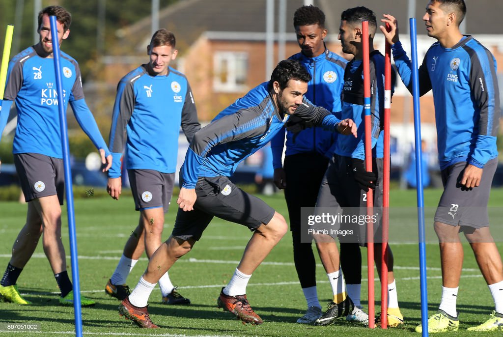 Vicente Iborra during the Leicester City training session at Belvoir Drive Training Complex on October 27 , 2017 in Leicester, United Kingdom.