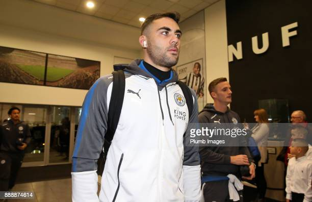 Vicente Iborra of Leicester City arrives at St James Park ahead of the Premier League match between Newcastle United and Leicester City at St James...