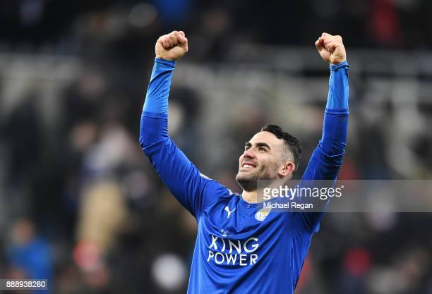 Vicente Iborra of Leicester City celebrates after the Premier League match between Newcastle United and Leicester City at St James Park on December 9...