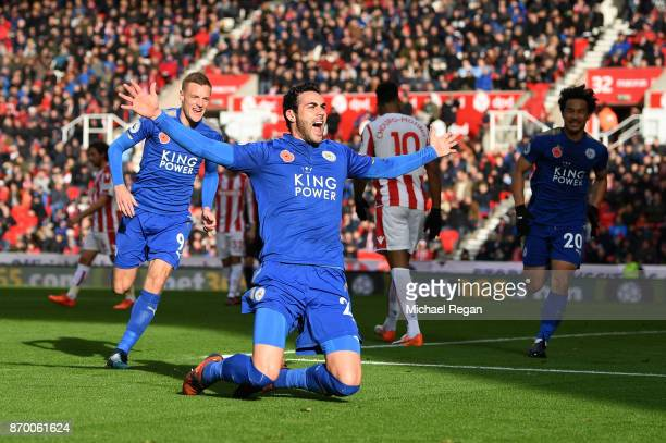 Vicente Iborra of Leicester City celebrates scoring his sides first goal during the Premier League match between Stoke City and Leicester City at...