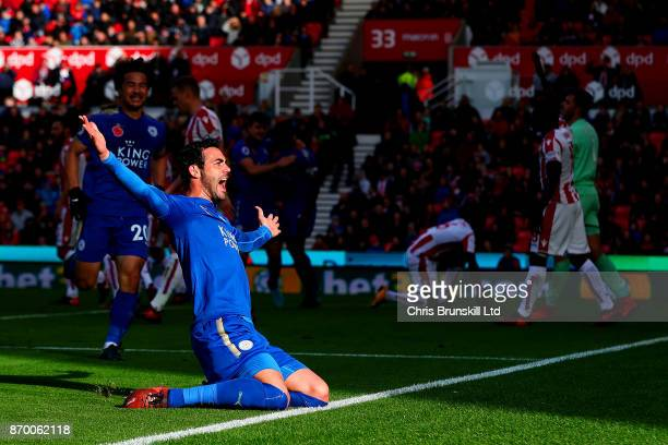 Vicente Iborra of Leicester City celebrates scoring the opening goal during the Premier League match between Stoke City and Leicester City at Bet365...