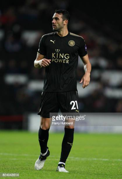 Vicente Iborra of Leicester in action during the preseason friendly match between MK Dons and Leicester City at StadiumMK on July 28 2017 in Milton...