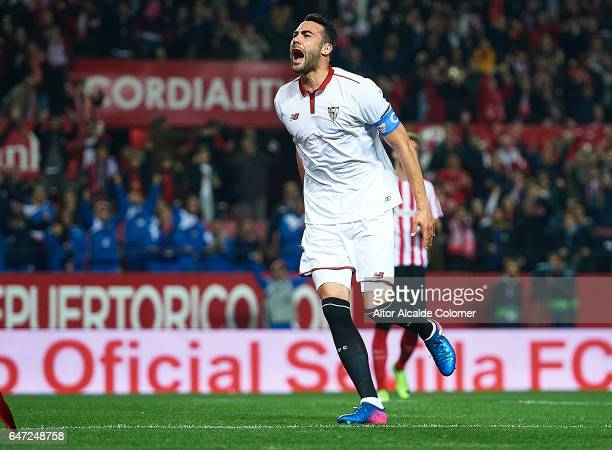 Vicente Iborra of Sevilla FC celebrates after scoring during the La Liga match between Sevilla FC and Athletic Club de Bilbao at Estadio Ramon...