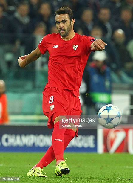 Vicente Iborra of Sevilla FC in action during the UEFA Champions League group E match between Juventus and Sevilla FC at Juventus Arena on September...