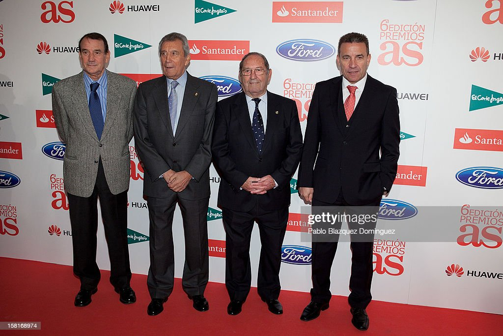 Vicente Miera, Enrique Perez Diaz, Francisco Gento and Paco Buyo attend 'As Del Deporte' Awards 2012 at The Westin Palace Hotel on December 10, 2012 in Madrid, Spain.