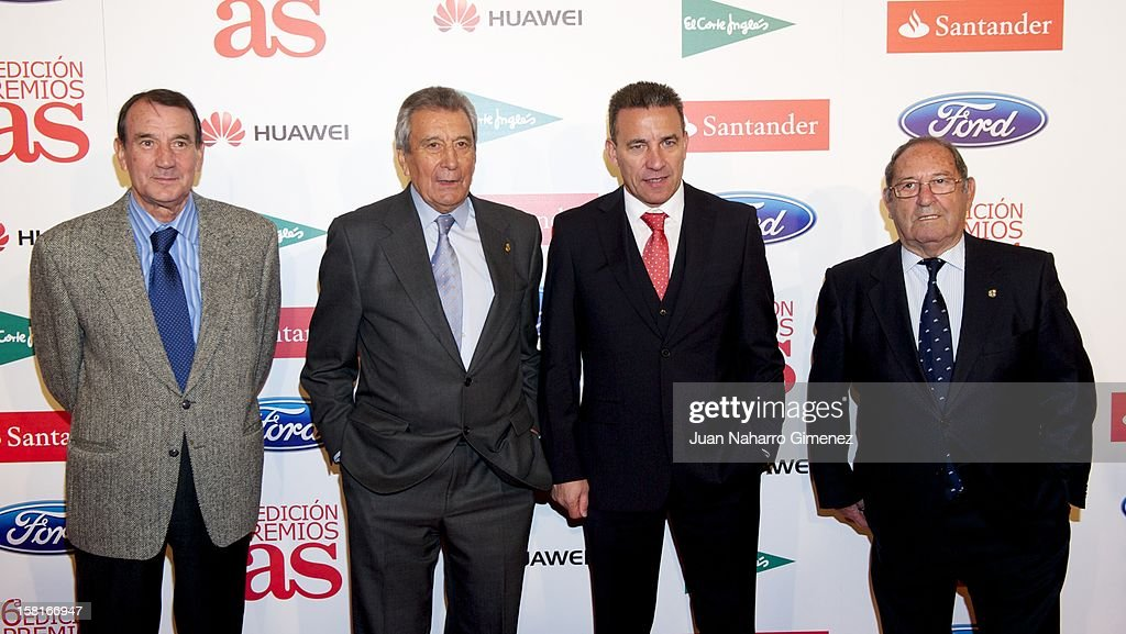Vicente Miera, Enrique Perez Diaz, Paco Buyo and Francisco Gento attend 'As del Deporte' awards 2012 at Palace Hotel on December 10, 2012 in Madrid, Spain.